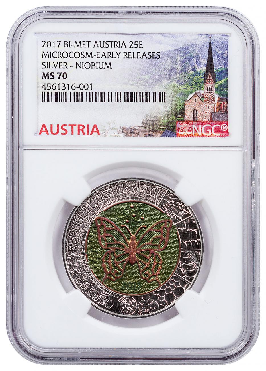 2017 Austria Microcosm - Butterfly Bi-Metalic €25 Coin NGC MS70 ER Austria Label