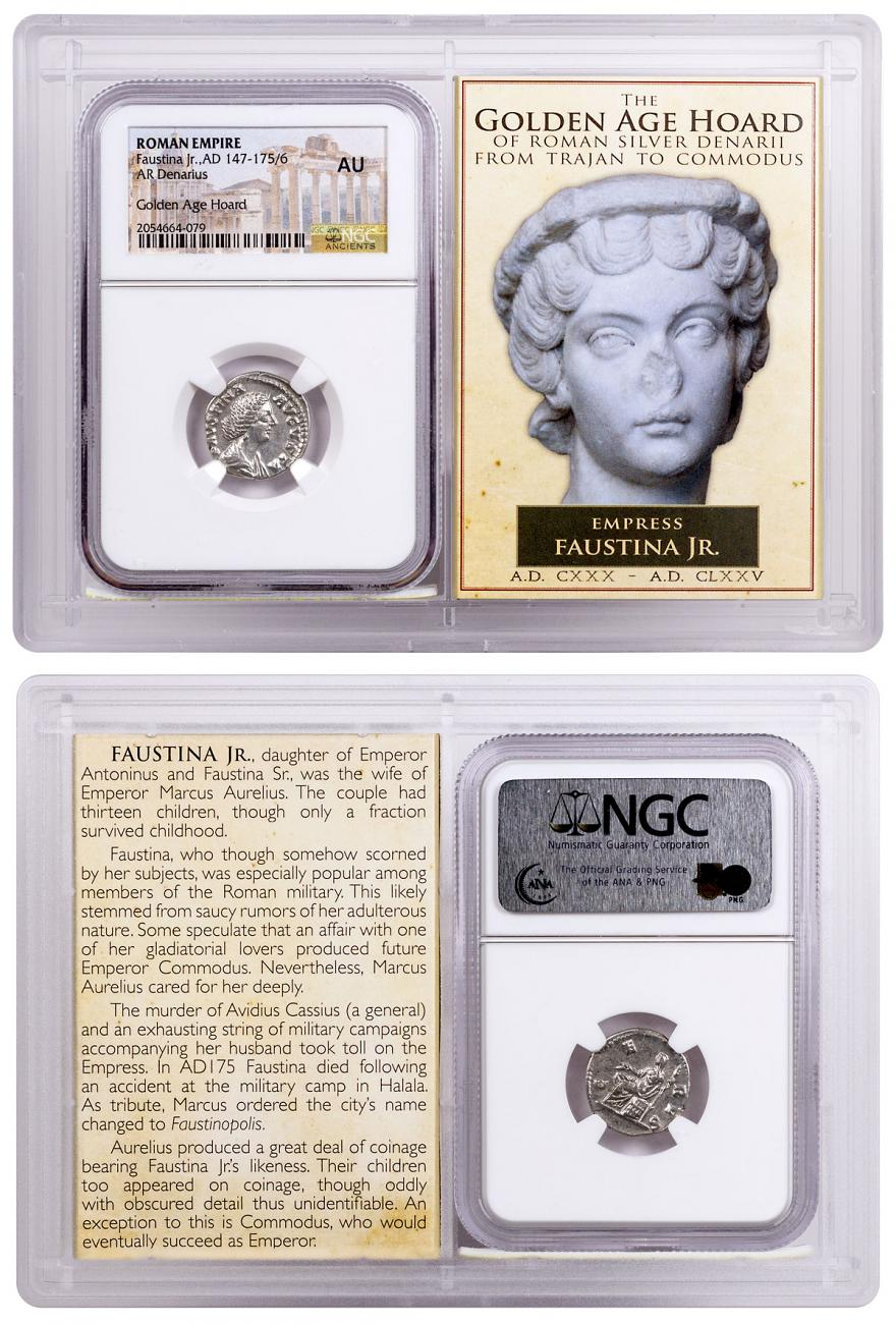 Roman Empire, Silver Denarius of Faustina Jr. (AD 147-175/6) - Golden Age Hoard NGC AU Story Vault