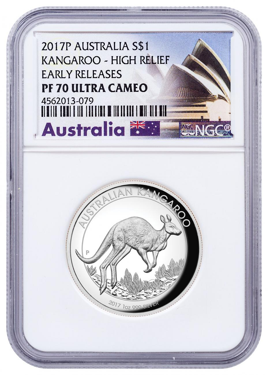 2017 Australia 1 oz High Relief Silver Kangaroo - Proof $1 Coin NGC PF70 UC ER Exclusive Australia Label