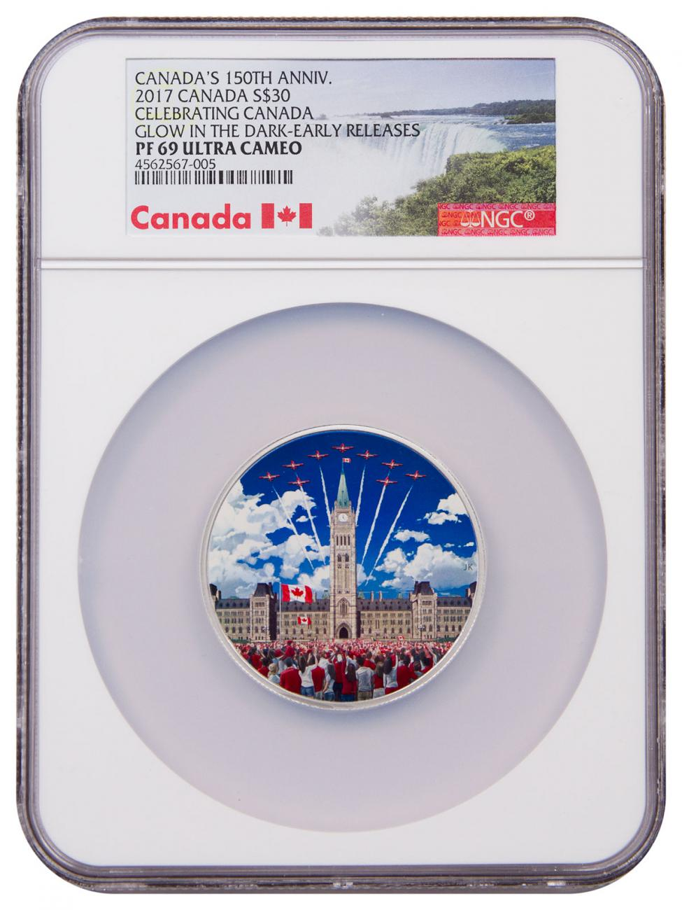 2017 Canada Celebrating Canada 2 oz Silver Colorized Glow in the Dark Proof $30 Coin NGC PF69 UC ER Exclusive Canada Label