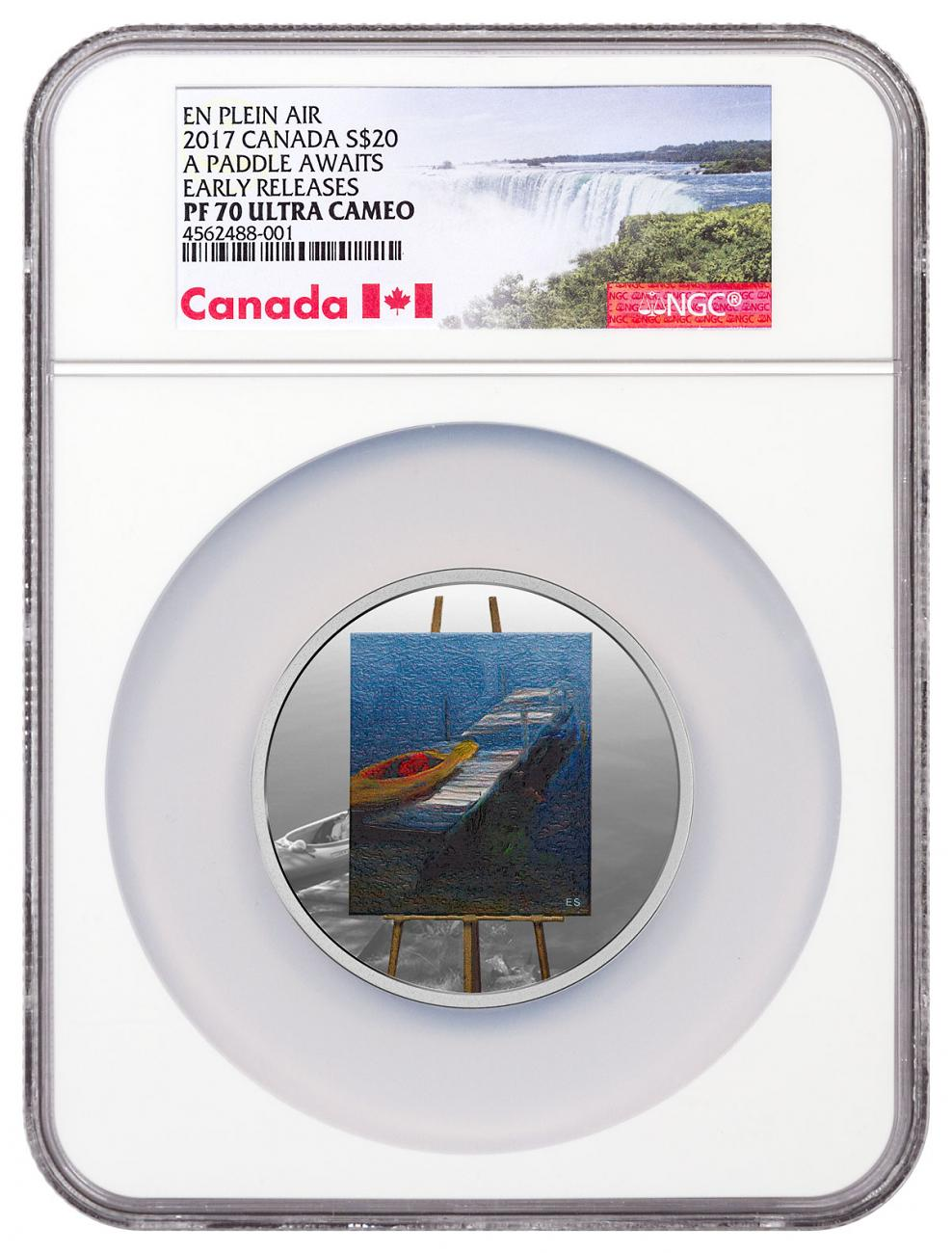 2017 Canada En Plein Air - A Paddle Awaits 1 oz Silver Colorized Proof $20 Coin NGC PF70 UC ER Exclusive Canada Label