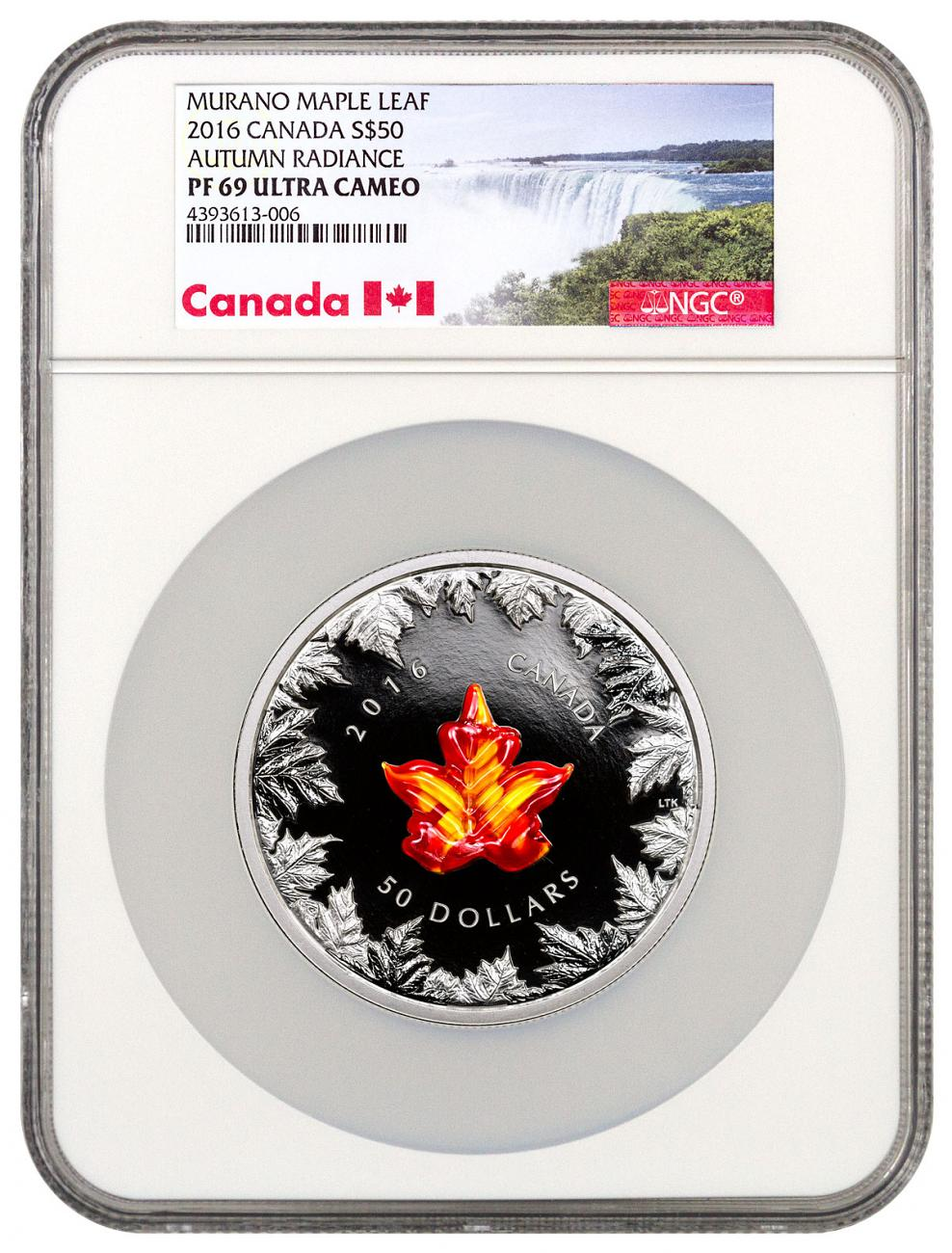 2016 Canada Murano Glass Maple Leaf - Autumn Radiance 5 oz Silver Proof $50 NGC PF69 UC Exclusive Canada Label