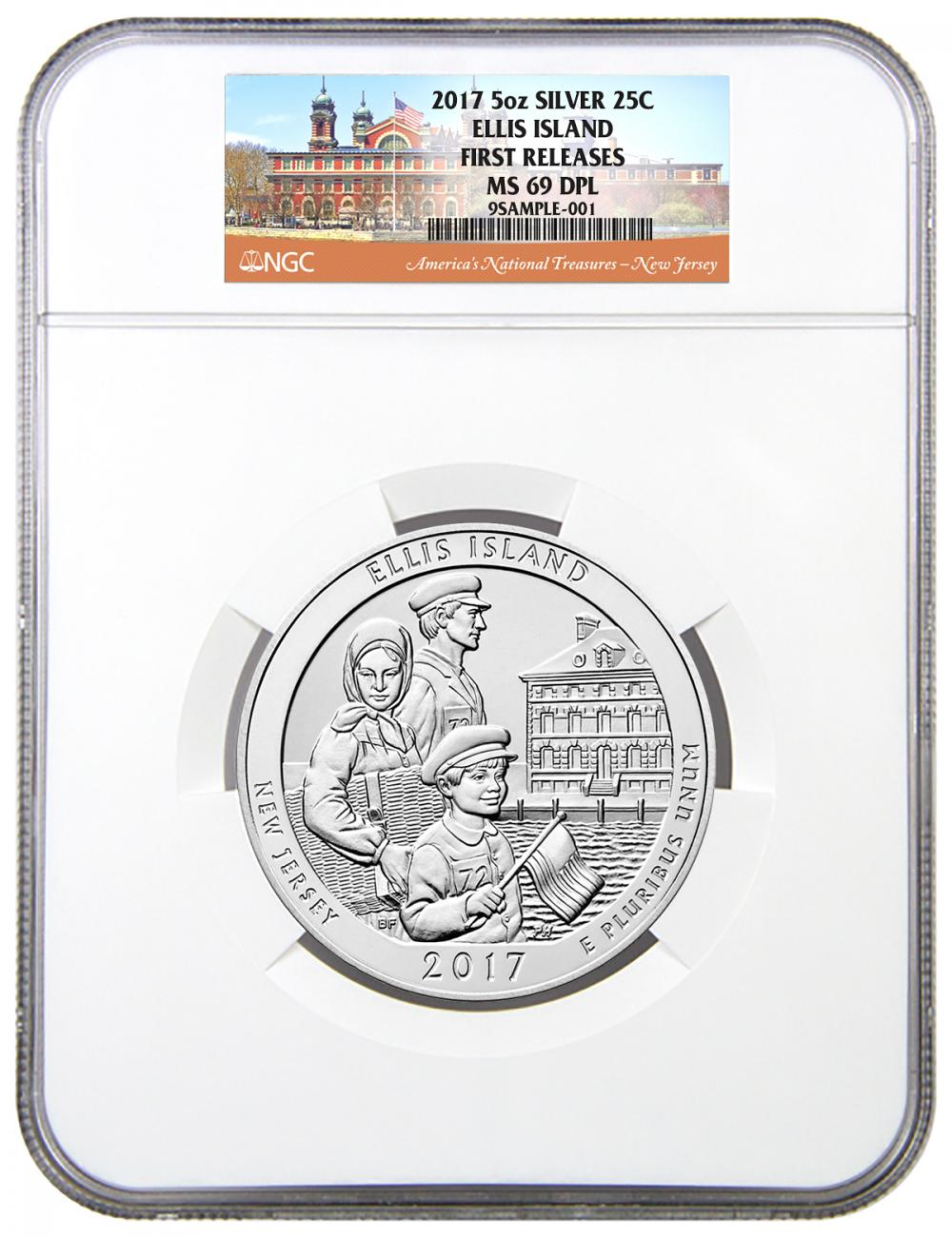 2017 Ellis Island 5 oz. Silver America the Beautiful Coin NGC MS69 DPL FR
