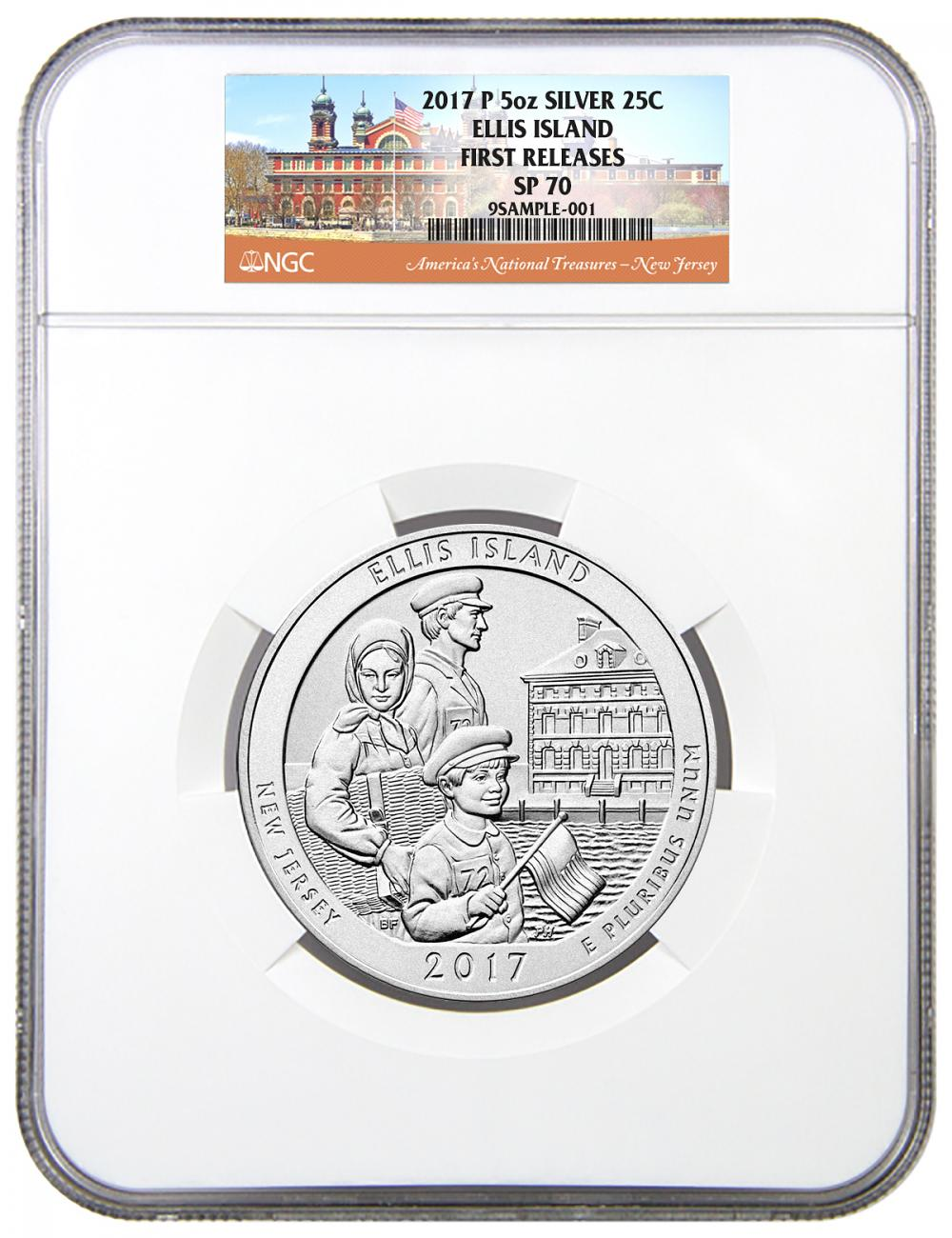 2017-P Ellis Island 5 oz. Silver America the Beautiful Specimen Coin NGC SP70 FR