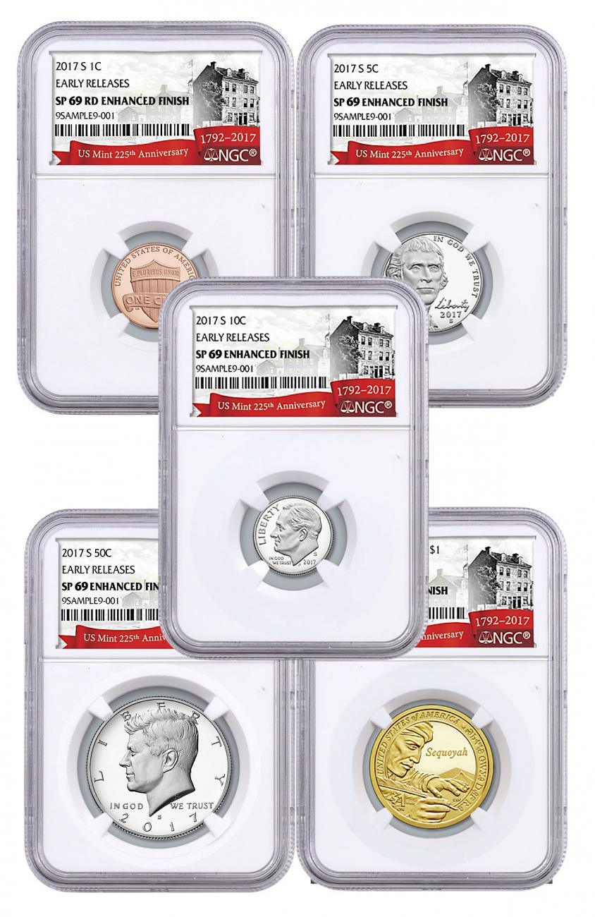2017 U.S. 225th Anniversary Enhanced Uncirculated Coin Set NGC SP69 ER Exclusive U.S. Mint 225th Anniversary Label