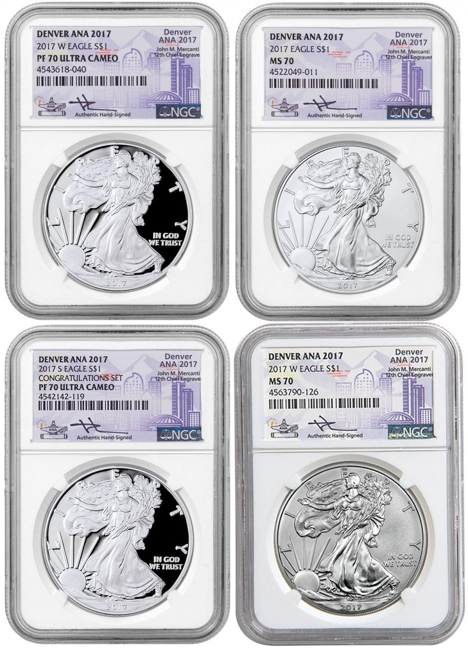 2017 American Silver Eagle 4-Coin Set Denver ANA 2017 NGC MS70 PF70 UC Exclusive Mercanti Signed ANA Label