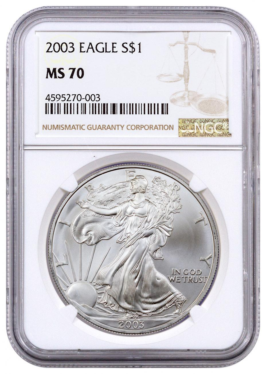2003 American Silver Eagle Ngc Ms70 Moderncoinmart