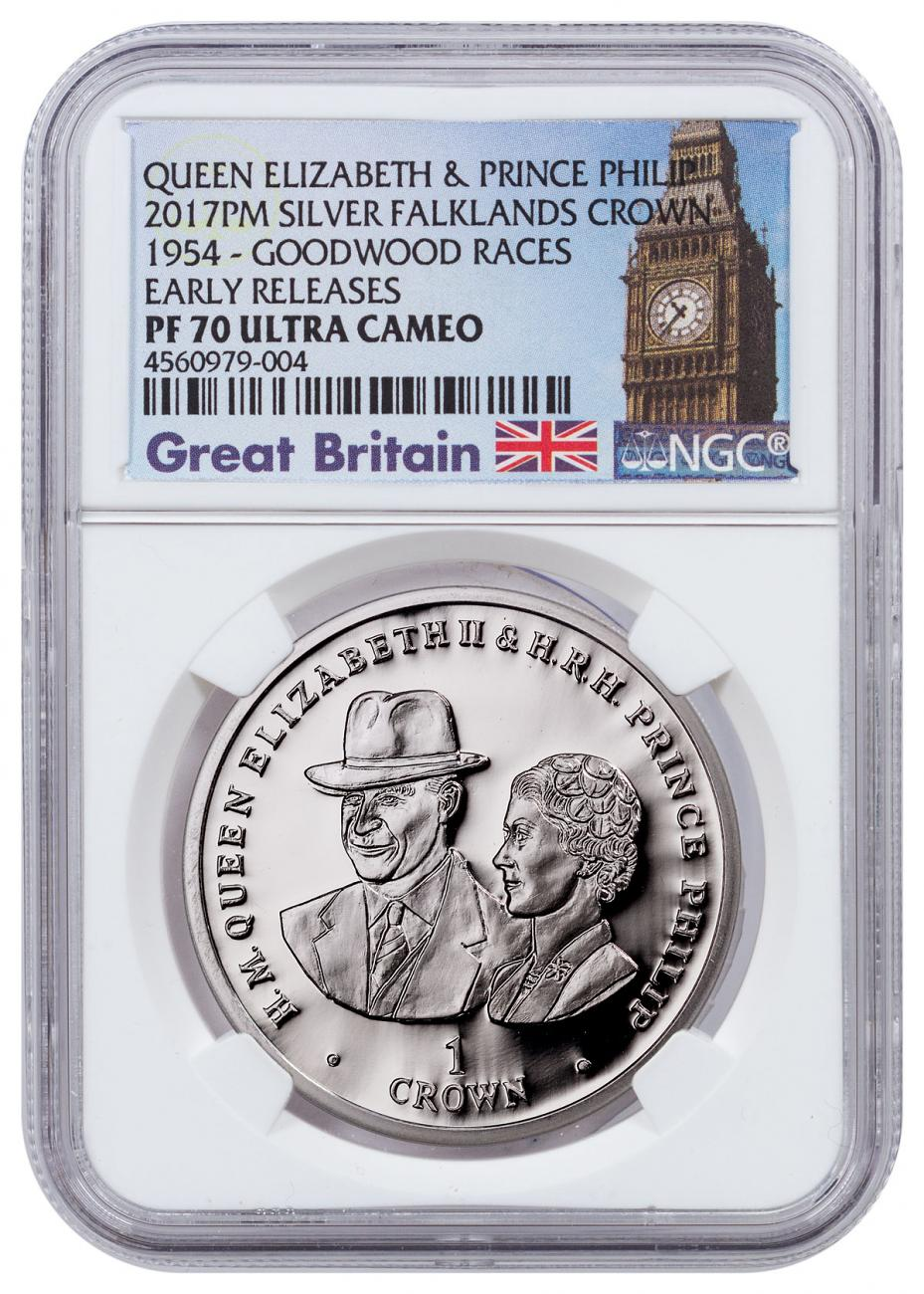 2017 Falkland Islands 70 Years of Queen Elizabeth II & Prince Phillip - The Goodwood Race Silver Proof 1 Crown NGC PF70 UC Exclusive Big Ben Label