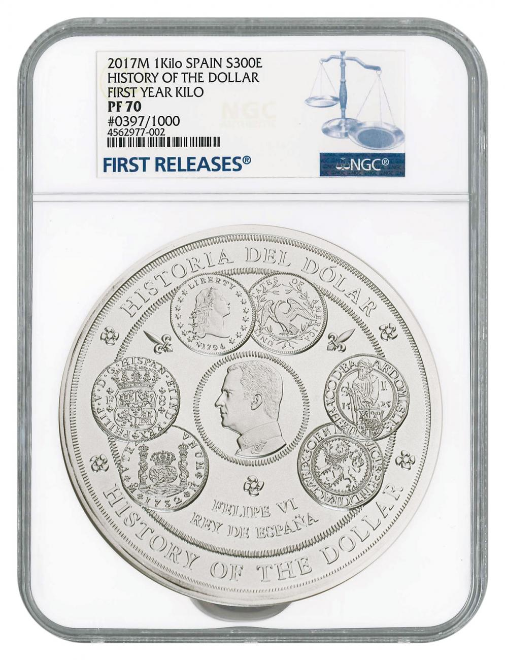 2017 Spain History of the Dollar 1 Kilo Silver Proof €300 Coin Scarce and Unique Coin Division NGC PF70 UC FR