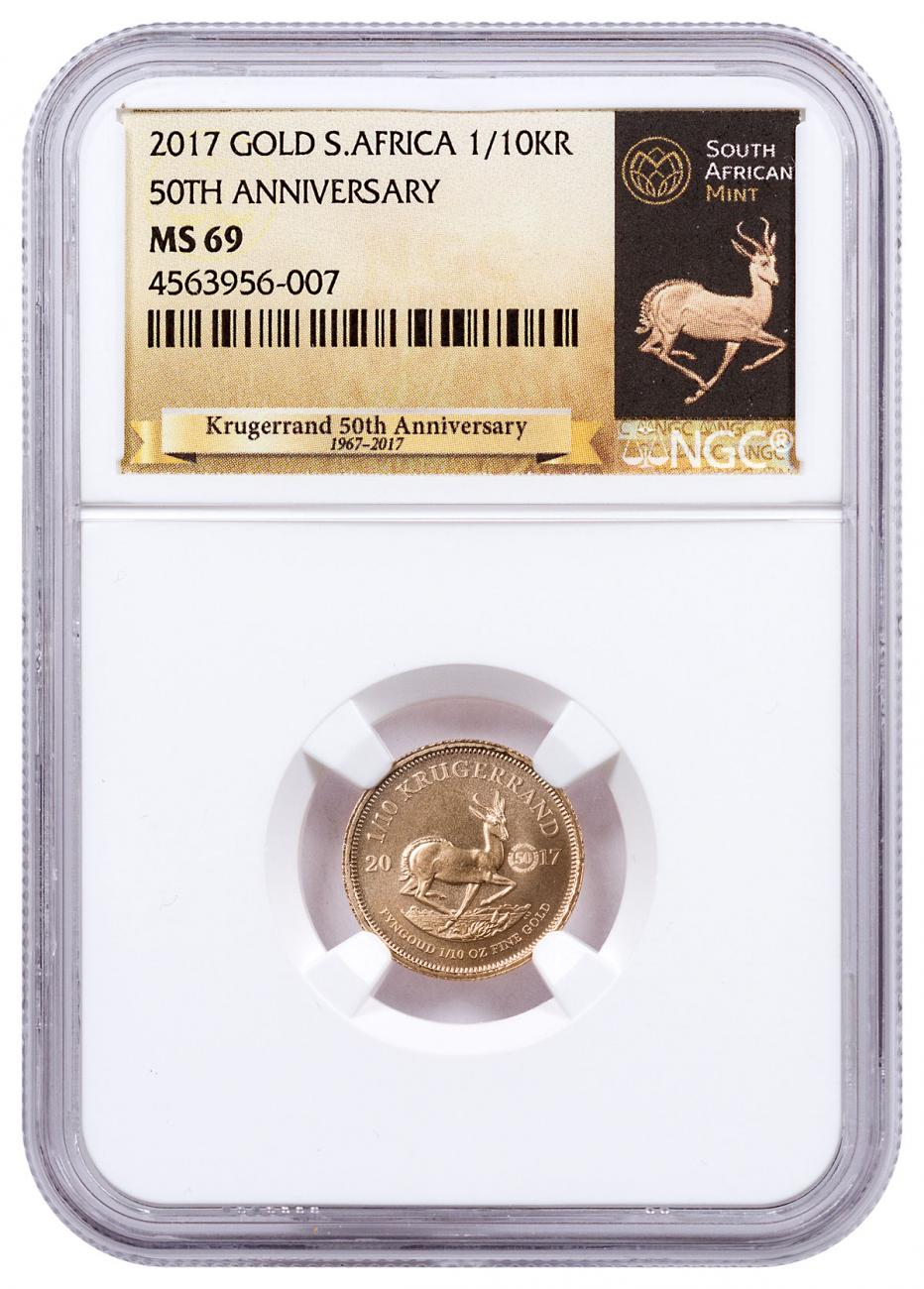 2017 South Africa 1/10 oz Gold Krugerrand - 50th Anniversary Privy Coin NGC MS69