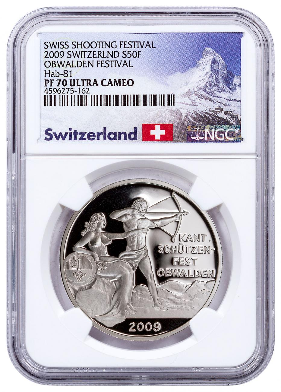 2009 Switzerland Shooting Festival Thaler - Obwalden Silver Proof Fr.50 NGC PF70 UC Exclusive Switzerland Label