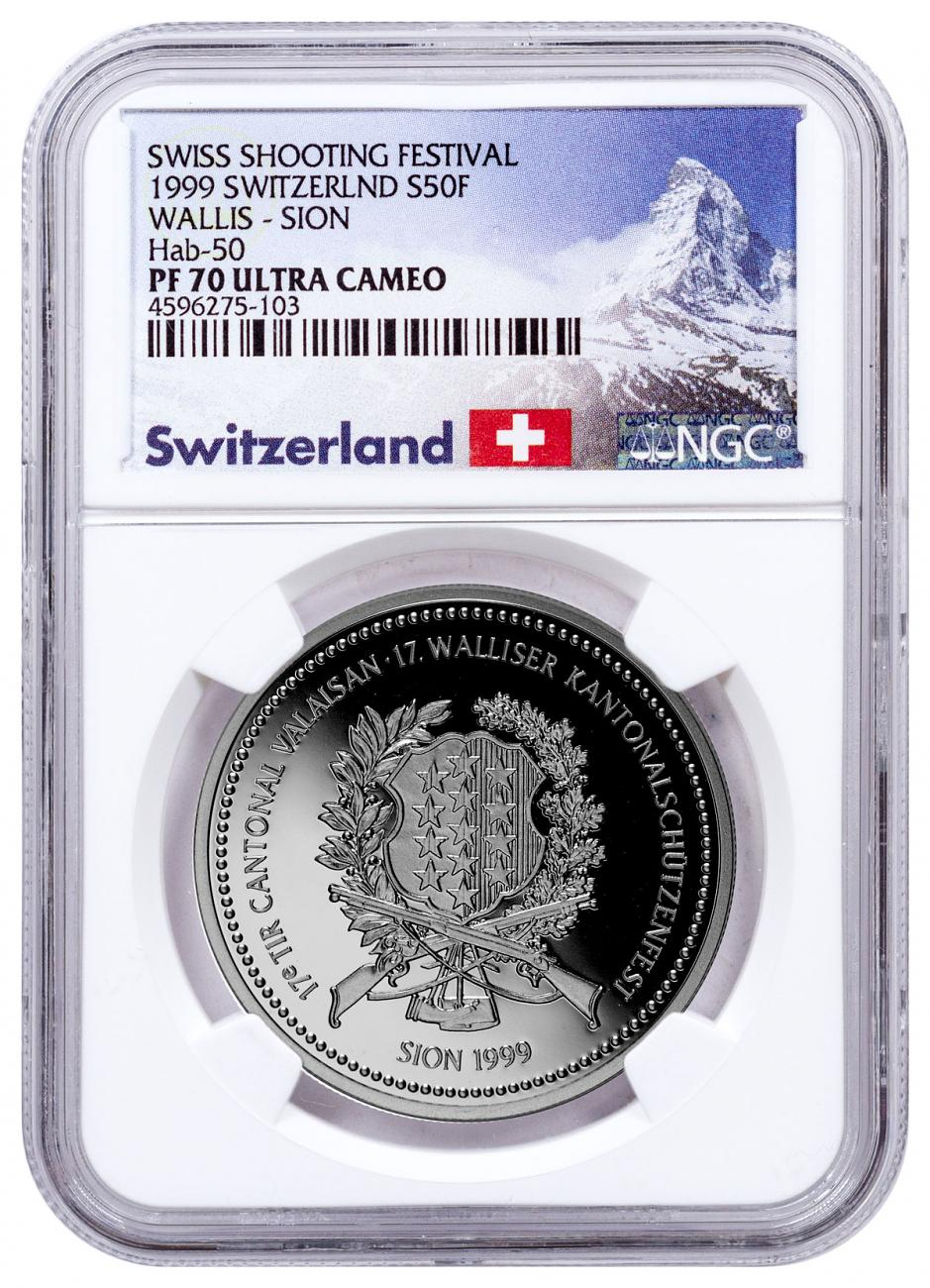 1999 Switzerland Shooting Festival Thaler - Sion Silver Proof Fr.50 Coin NGC PF70 UC Exclusive Switzerland Label