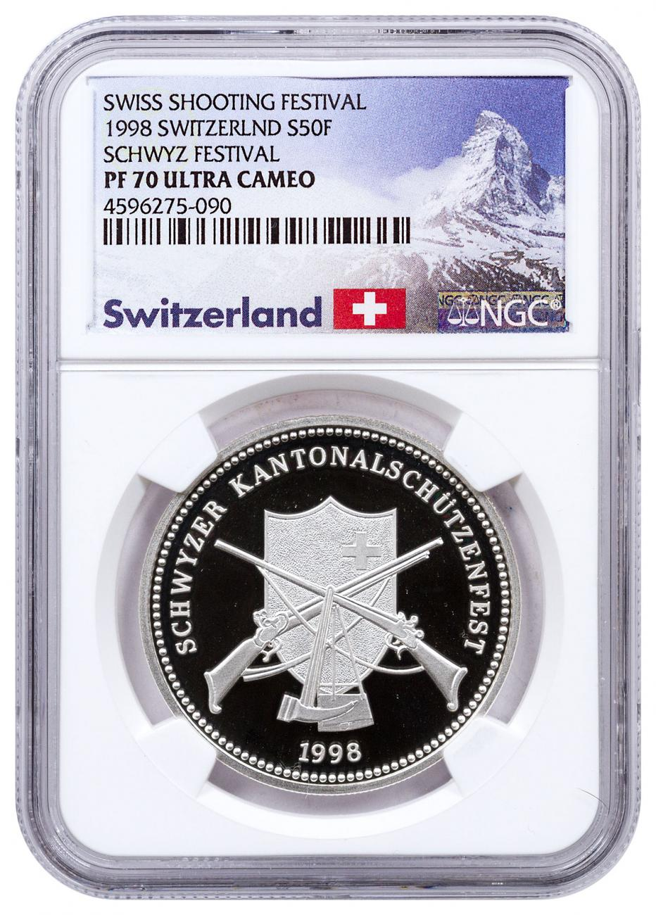1998 Switzerland Shooting Festival Thaler - Schwyz Silver Proof Fr.50 Coin NGC PF70 UC Exclusive Switzerland Label