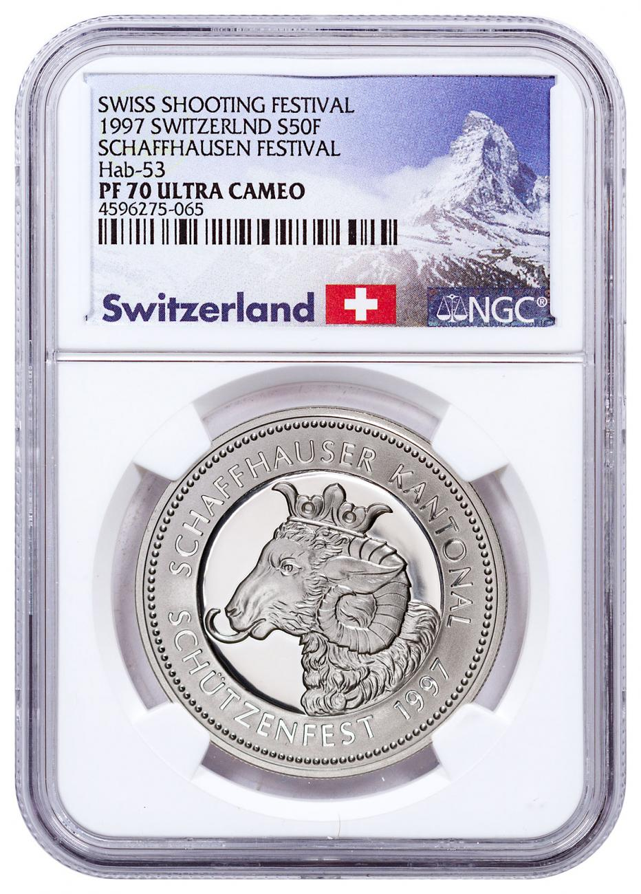 1997 Switzerland Shooting Festival Thaler - Schaffhausen Silver Proof Fr.50 Coin NGC PF70 UC Exclusive Switzerland Label