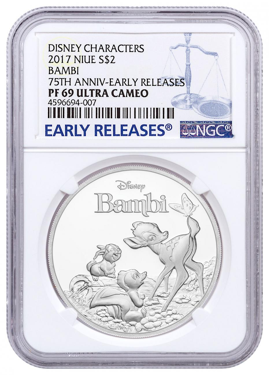 2017 Niue Iconic Disney - Bambi 75th Anniversary 1 oz Silver Proof $2 Coin NGC PF69 UC ER