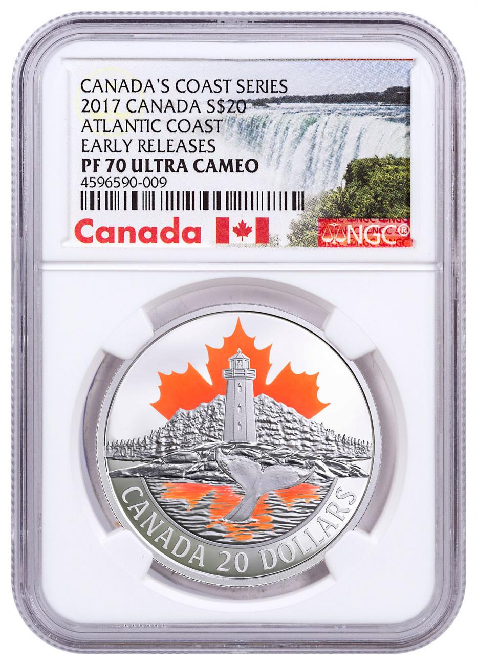 2017 Canada Canada's Coast - Atlantic Coast 1 oz Silver Colorized Proof $20 Coin NGC PF70 UC ER