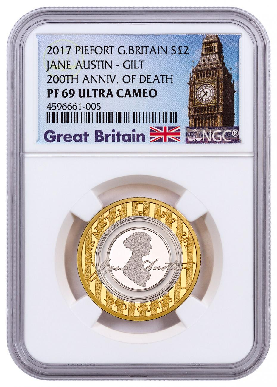 2017 Great Britain An Enduring Romance with Jane Austen Piedfort Silver Gilt Proof £2 Coin NGC PF69 UC Exclusive Big Ben Label