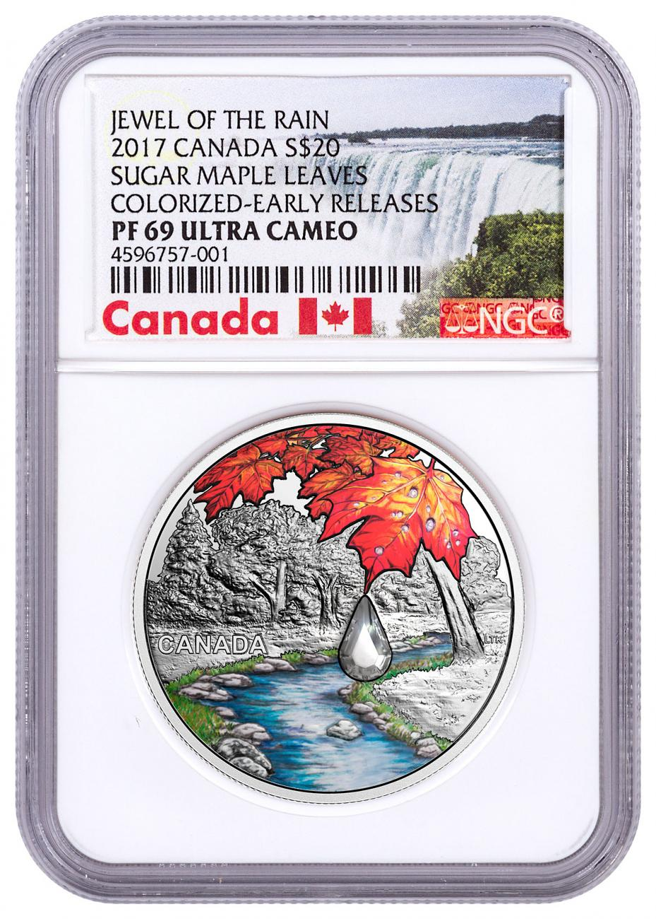 2017 Canada Jewel of the Rain - Sugar Maple Leaves with Swarovski Crystal 1 oz Silver Colorized Proof $20 Coin NGC PF69 UC ER Exclusive Canada Label