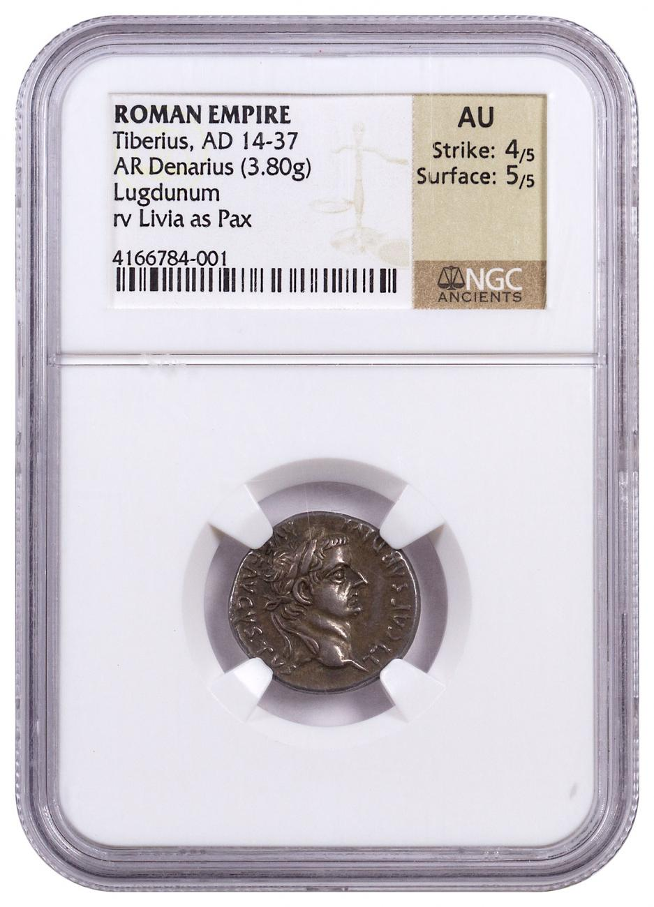 "Roman Empire, Silver Denarius of Tiberius (AD 14-37) - Biblical ""Tribute Penny"" - obv. Bust/rv. Livia as Pax NGC AU (Strike: 4/5, Surface: 5/5) [12505]"