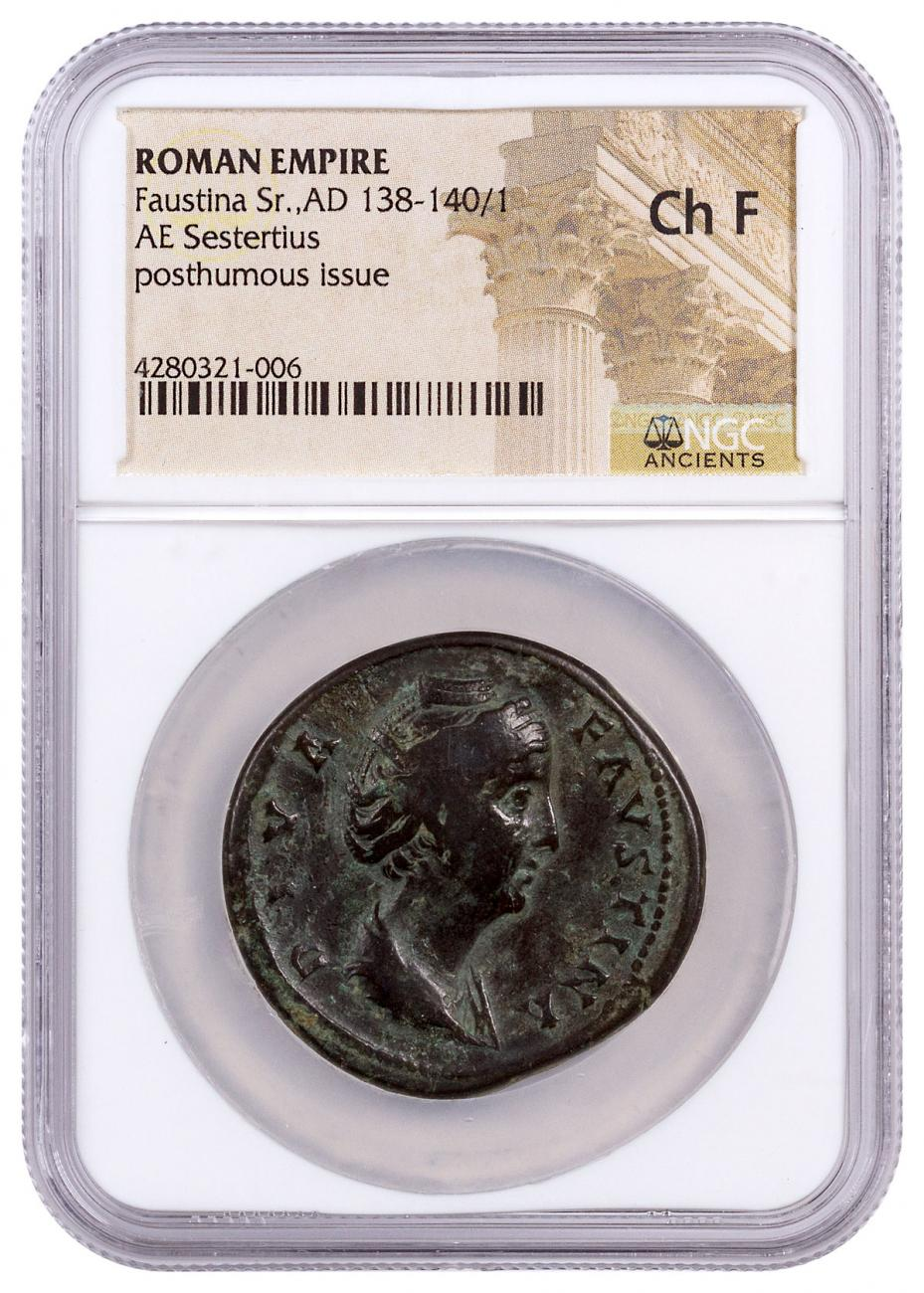 Roman Empire, Bronze Sestertius of Faustina Sr. (AD 138-140/1) - Posthumous Issue - obv. Bust/rv. Ceres NGC Ch. F [11911]