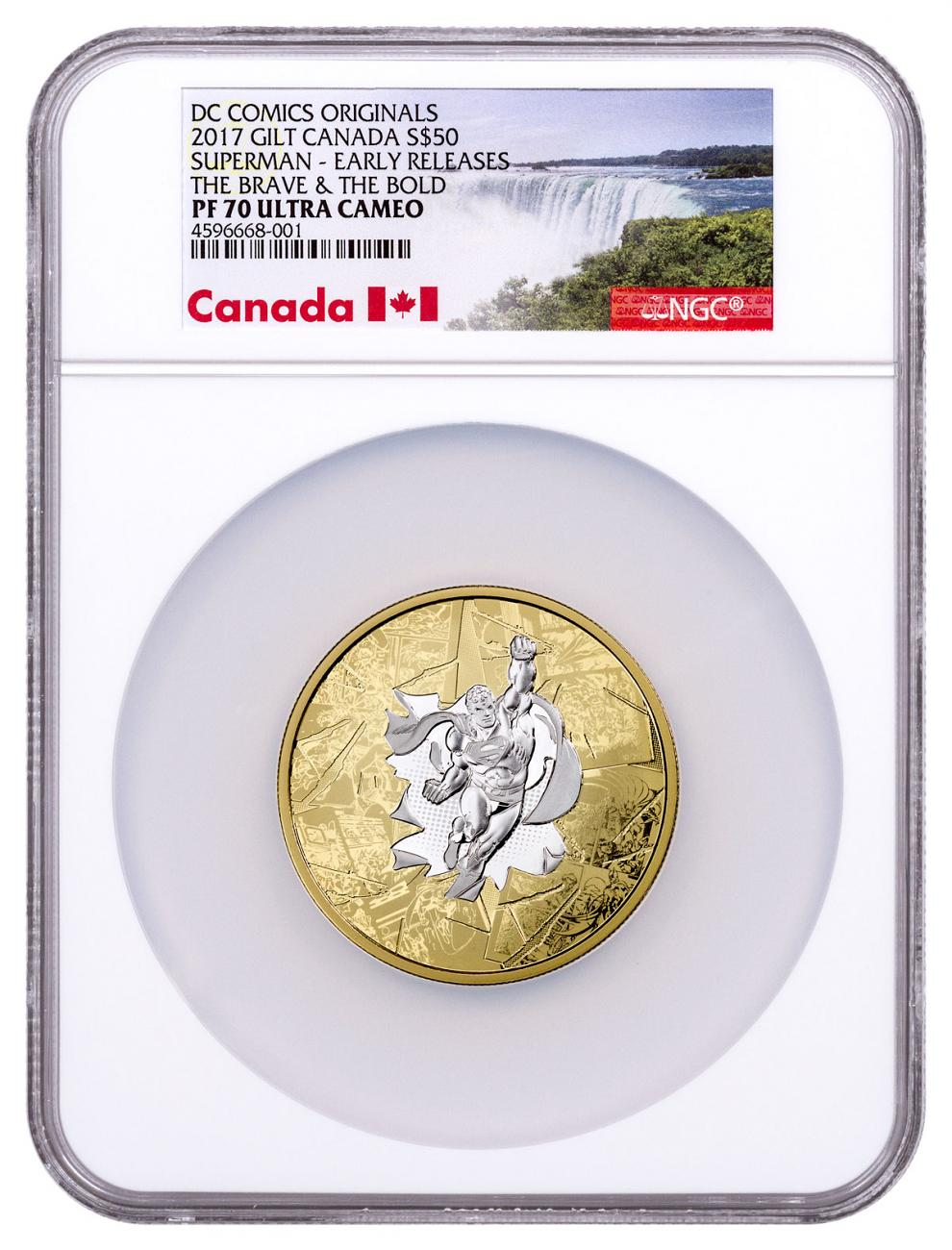 2017 Canada DC Comics Originals - Superman The Brave and The Bold 3 oz Silver Gilt Proof $50 Coin NGC PF70 UC ER Exclusive Canada Label