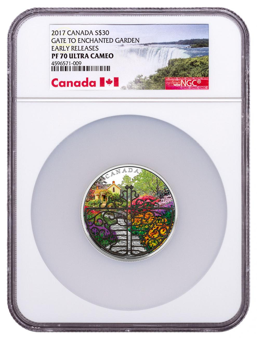 2017 Canada Gate to the Enchanted Garden 2 oz Silver Proof $30 Coin With White Bronze Filigree Gate NGC PF70 UC ER Exclusive Canada Label