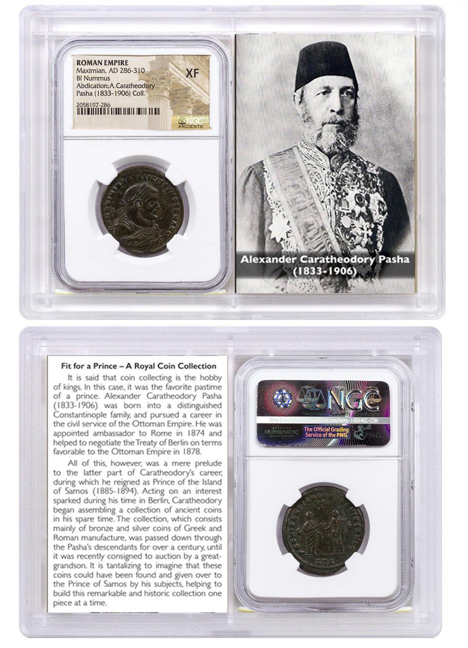 Roman Empire, Billon Nummus of Maximian (AD 286-310) Abdication Issue - ex. Alexander Pasha, Prince of Samos NGC XF (Story Vault)