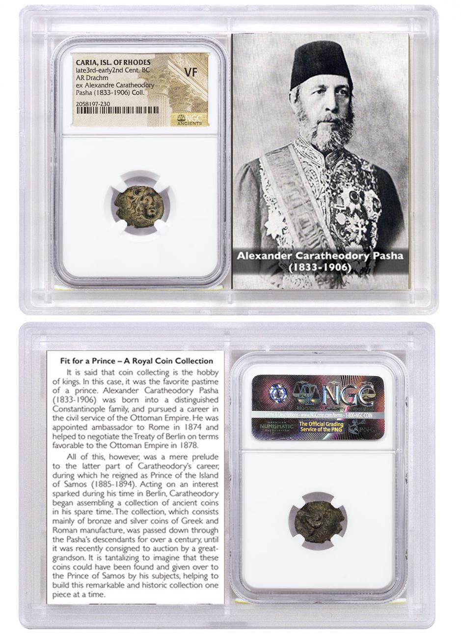 Caria, Isl. of Rhodes Silver Drachm (Late 3rd-Early 2nd Centuries BC) - ex. Alexander Pasha, Prince of Samos NGC VF (Story Vault)