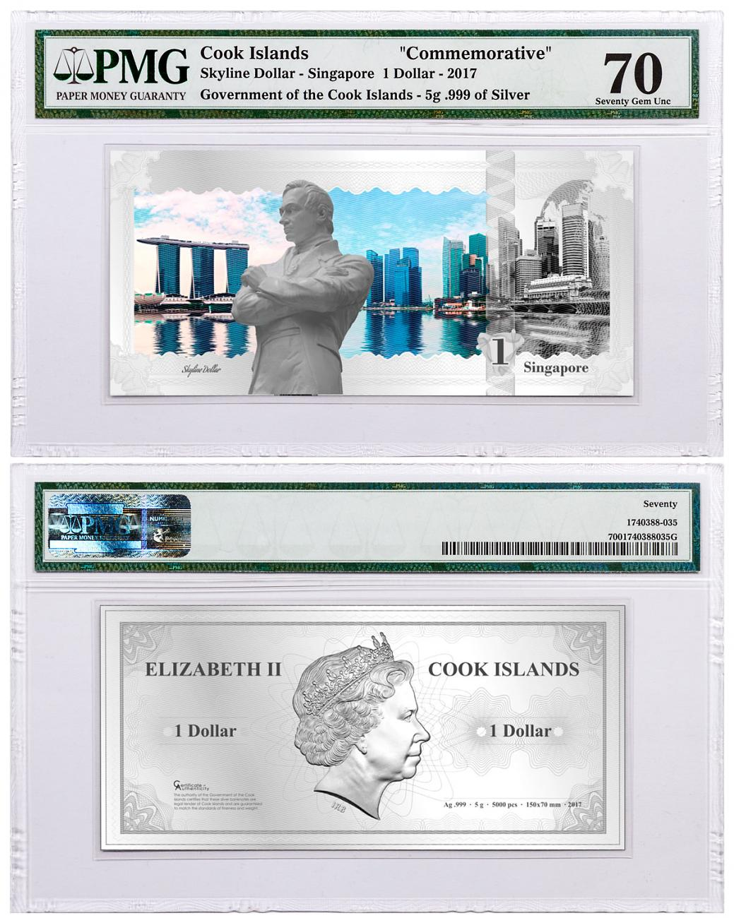 2017 Cook Islands Famous Skylines - Singapore Foil Note 5 g Silver Prooflike $1 PMG Gem Unc 70
