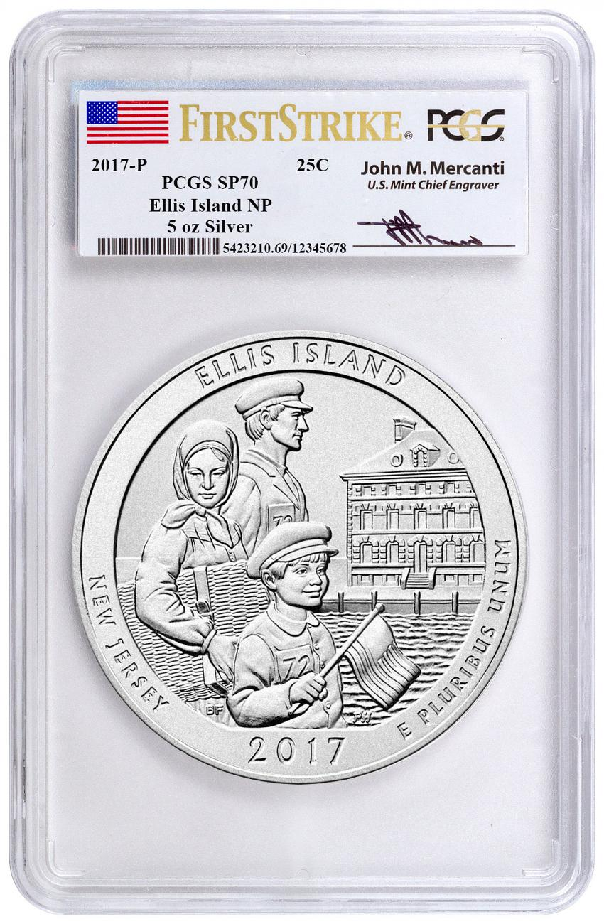2017-P Ellis Island 5 oz. Silver America the Beautiful Specimen Coin PCGS SP70 FS Mercanti Signed Label