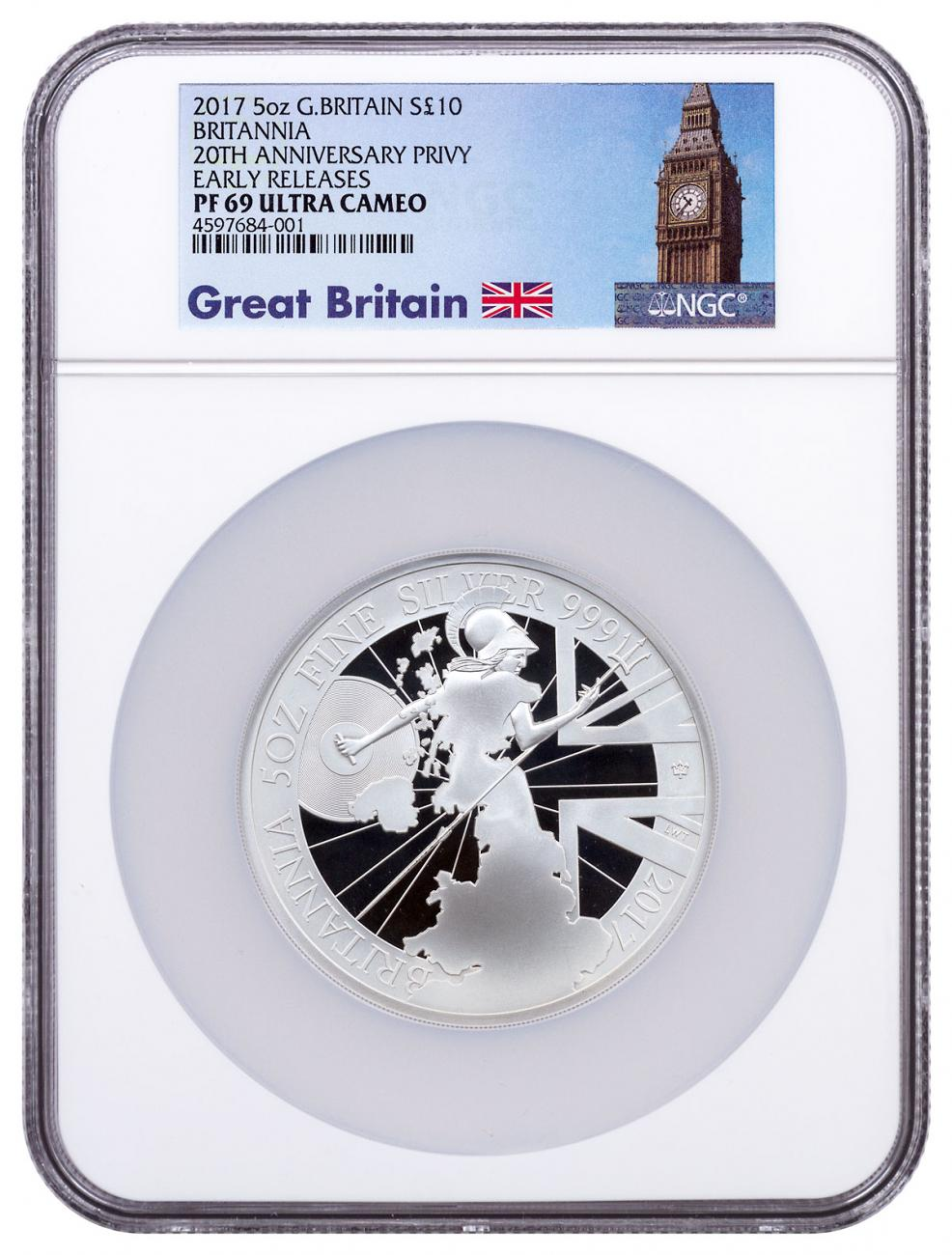 2017 Great Britain 5 oz Silver Britannia - 20th Anniversary Trident Privy Proof £10 Coin NGC PF69 UC ER Exclusive Big Ben Label