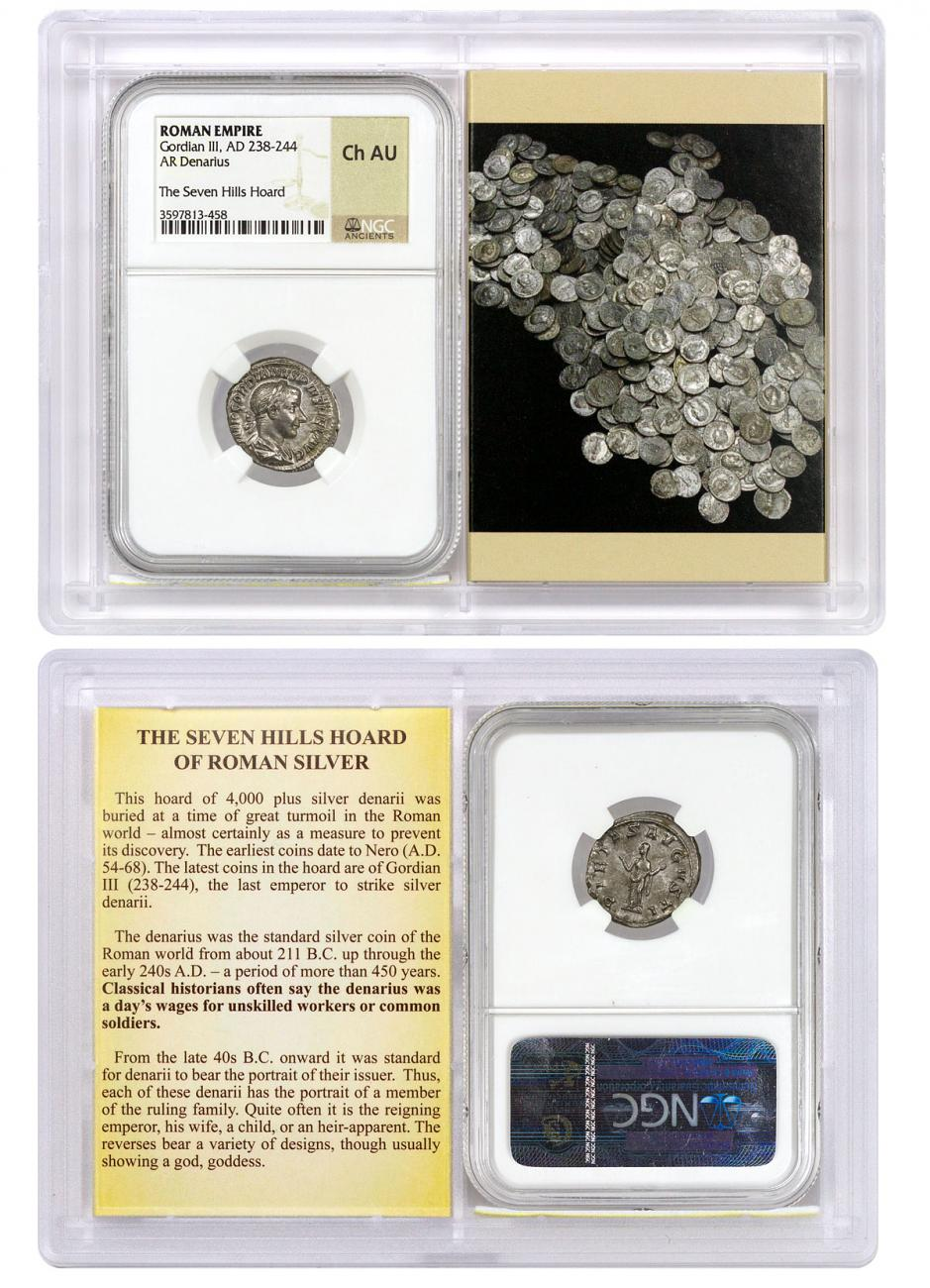Roman Empire, Silver Denarius of Gordian III (AD 238-244) - The Seven Hills Hoard NGC Ch. AU (Story Vault)