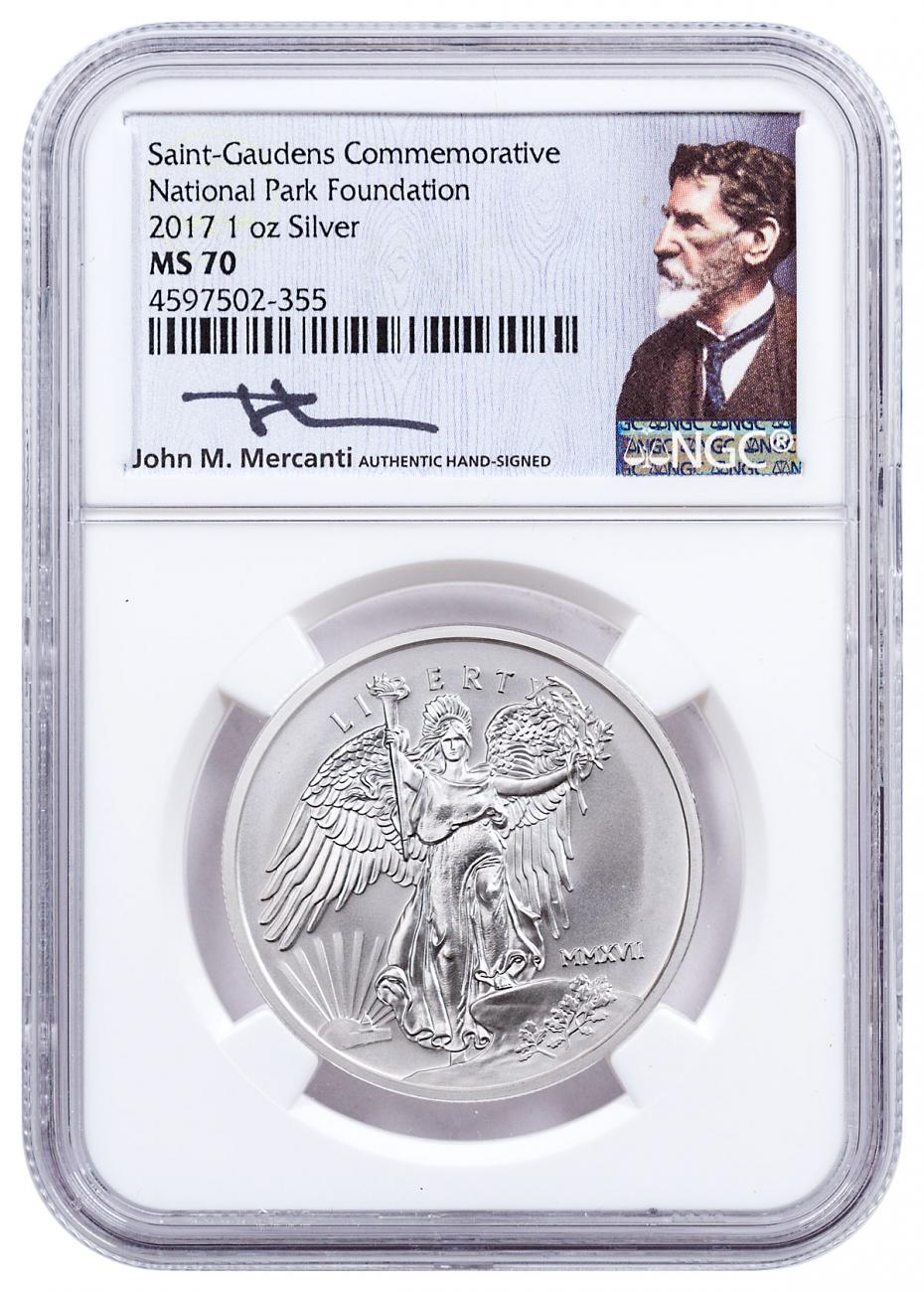 2017 Saint-Gaudens Winged Liberty 1 oz Silver Medal NGC MS70 Exclusive Mercanti Signed National Park Foundation Label