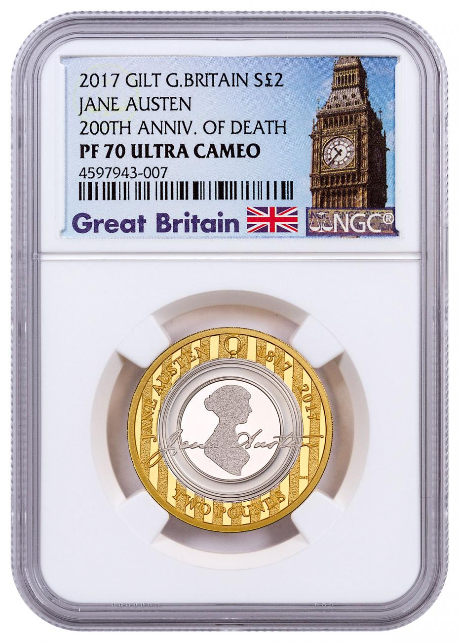 2017 Great Britain An Enduring Romance with Jane Austen Silver Gilt Proof £2 Coin NGC PF70 UC Exclusive Big Ben Label