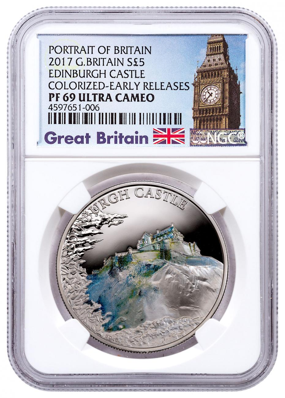 2017 Great Britain Portrait of Britain - Edinburgh Castle Silver Colorized Proof £5 Coin NGC PF69 UC ER Exclusive Big Ben Label