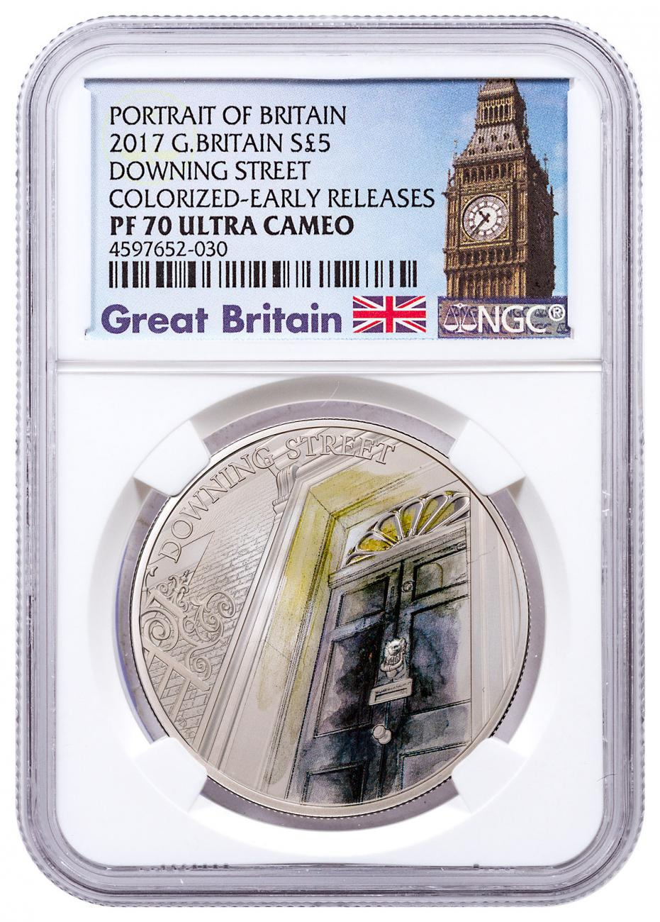 2017 Great Britain Portrait of Britain - Downing Street Silver Colorized Proof £5 Coin NGC PF70 UC ER Exclusive Big Ben Label