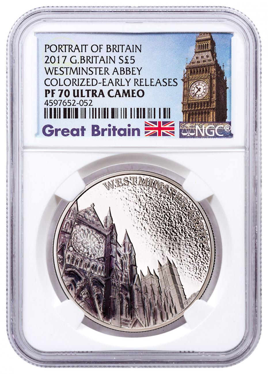 2017 Great Britain Portrait of Britain - Westminster Abbey Silver Colorized Proof £5 Coin NGC PF70 UC ER Exclusive Big Ben Label