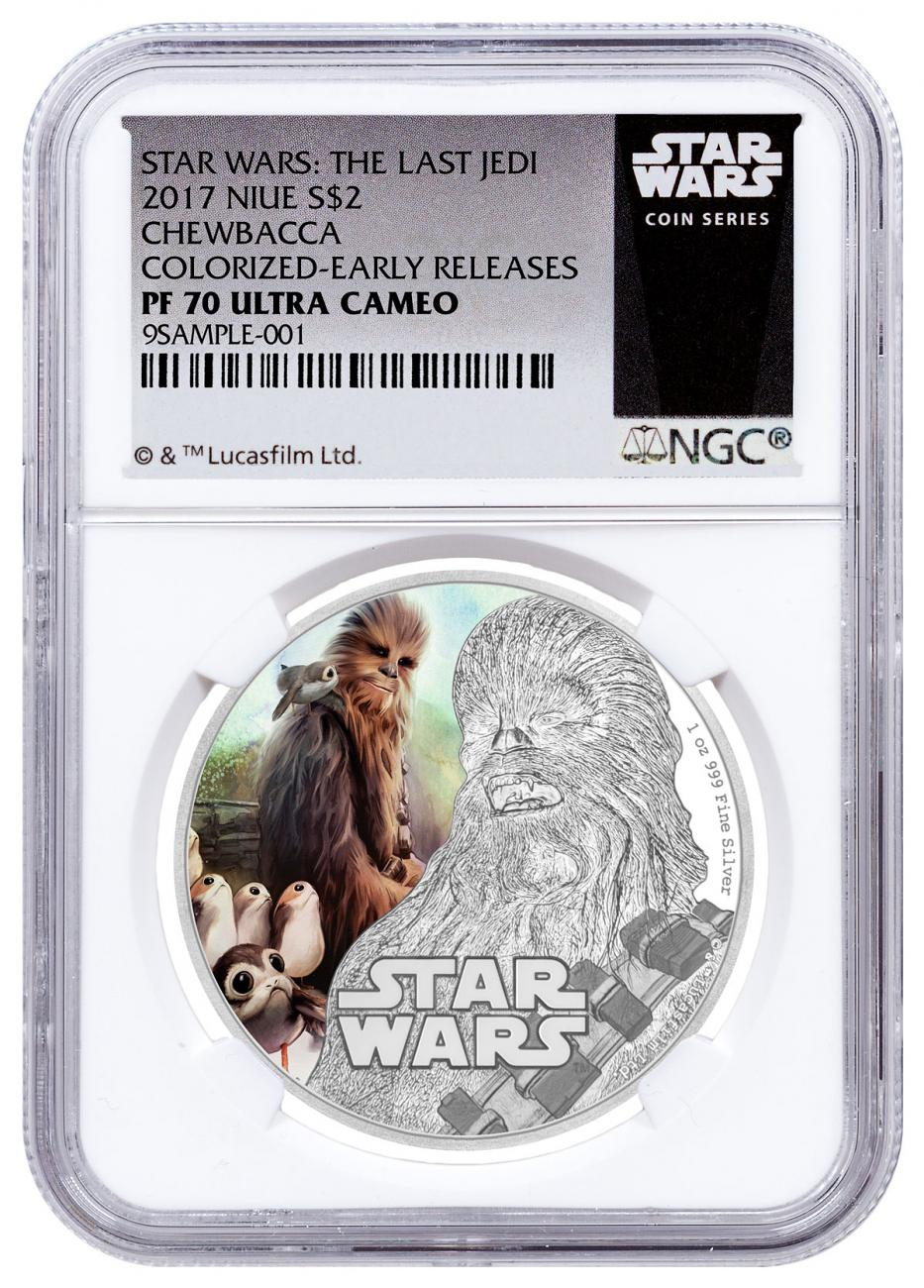 2017 Niue Star Wars: The Last Jedi - Chewbacca 1 oz Silver Colorized Proof $2 Coin NGC PF70 UC ER Star Wars Label