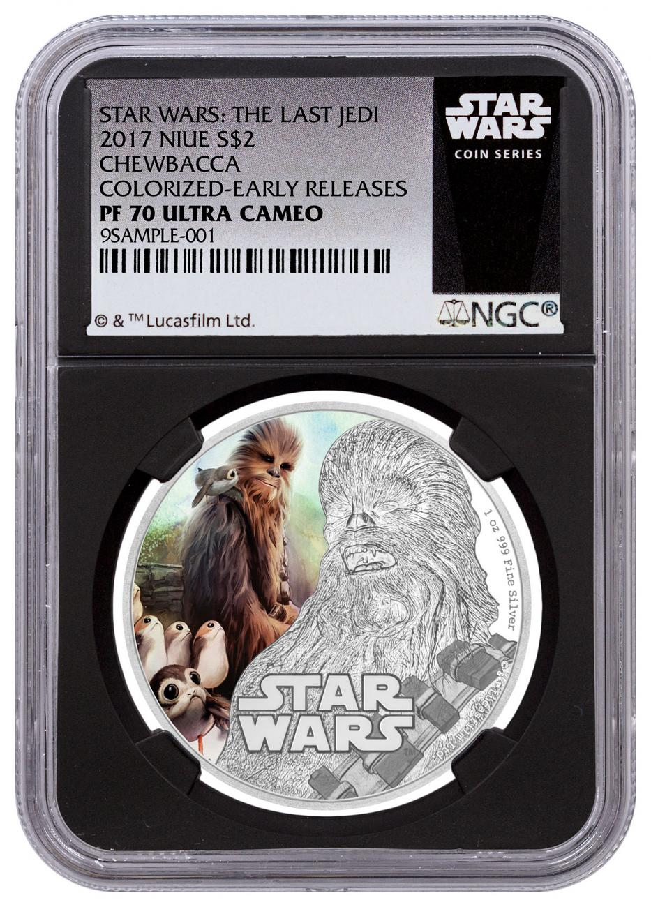 2017 Niue Star Wars: The Last Jedi - Chewbacca 1 oz Silver Colorized Proof $2 Coin NGC PF70 UC ER Black Core Holder Exclusive Star Wars Label
