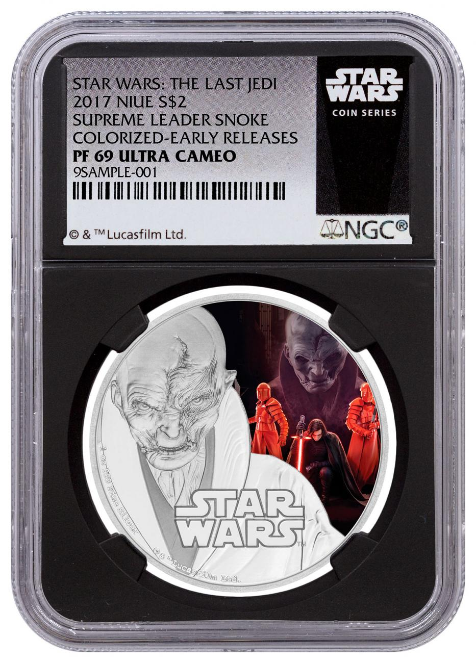 2017 Niue Star Wars: The Last Jedi - Supreme Leader Snoke 1 oz Silver Colorized Proof $2 Coin NGC PF69 UC ER Black Core Holder Exclusive Star Wars Label