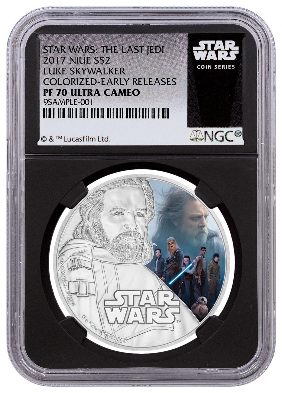 2017 Niue Star Wars: The Last Jedi - Luke Skywalker 1 oz Silver Colorized Proof $2 Coin NGC PF70 UC ER Black Core Holder Exclusive Star Wars Label