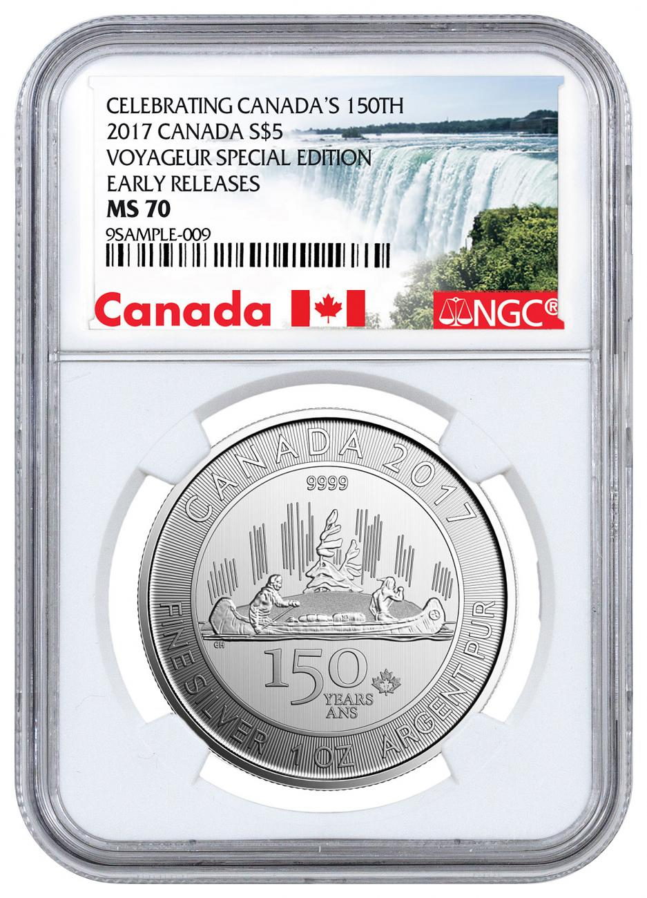 2017 Canada Celebrating Canada's 150th - Voyageur Special Edition 1 oz Silver $5 Coin NGC MS70 ER Exclusive Canada Label