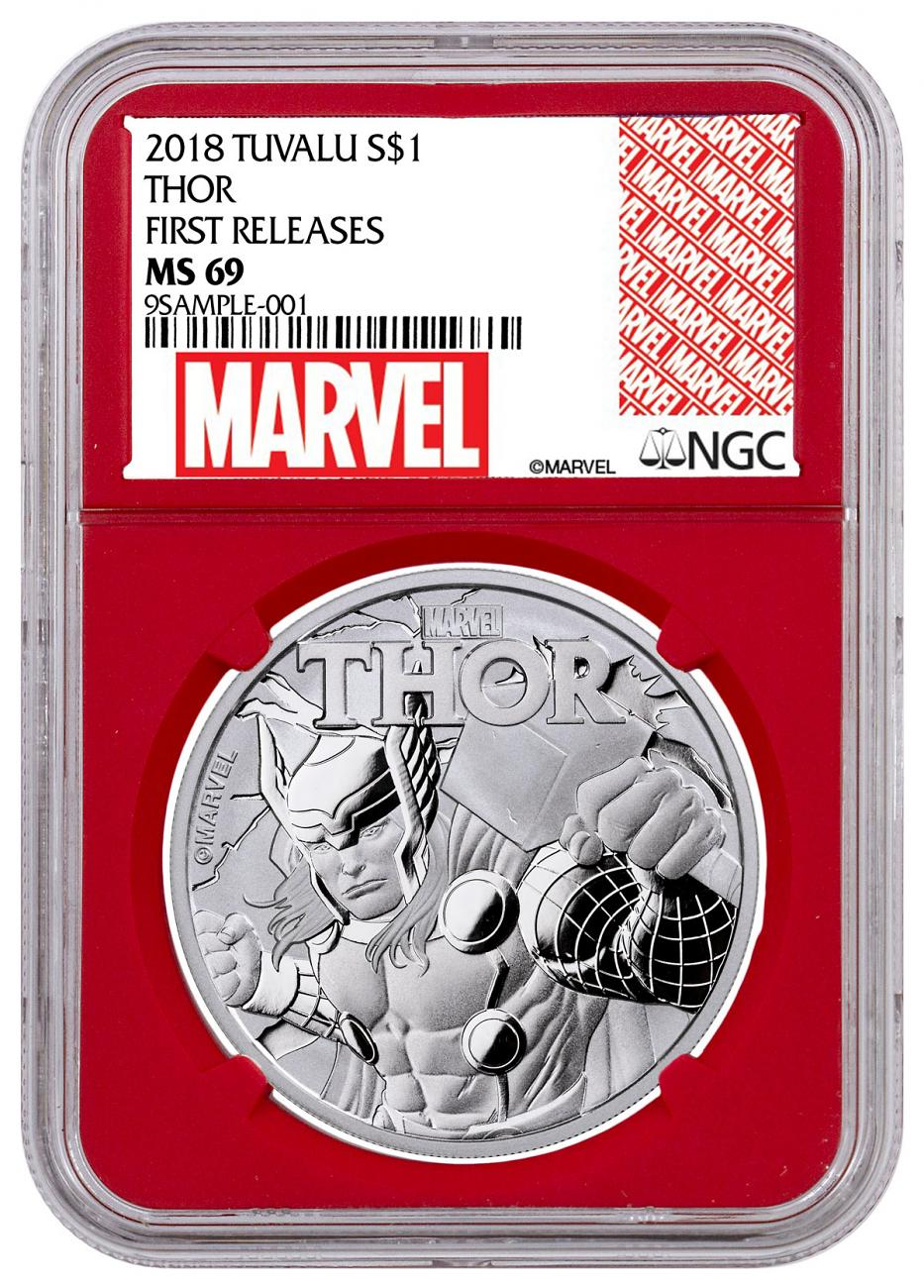 2018 Tuvalu Thor 1 oz Silver Marvel Series $1 Coin NGC MS69 FR Red Core Holder Exclusive Marvel Label