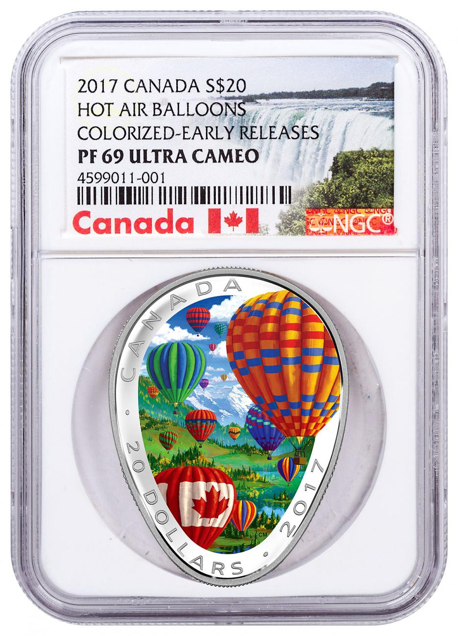 2017 Canada Hot Air Balloon Shaped 1 oz Silver Colorized Proof $20 Coin NGC PF69 UC ER Exclusive Canada Label