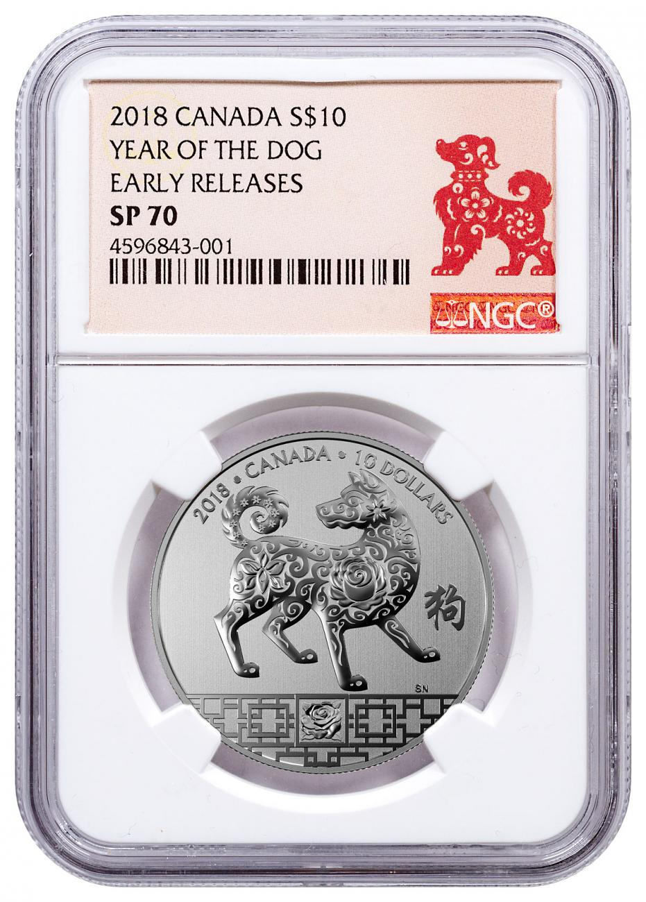 2018 Canada Year of the Dog 1/2 oz Silver Lunar Specimen $10 Coin NGC SP70 ER Year of the Dog Label