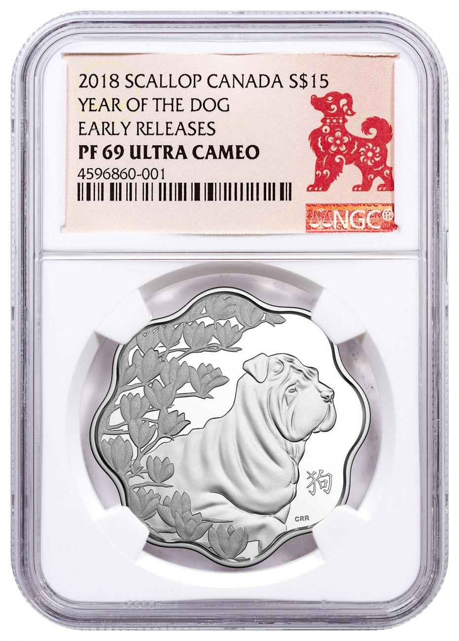 2018 Canada Year of the Dog Silver Lunar Lotus Proof $15 Coin NGC PF69 UC ER Year of the Dog Label