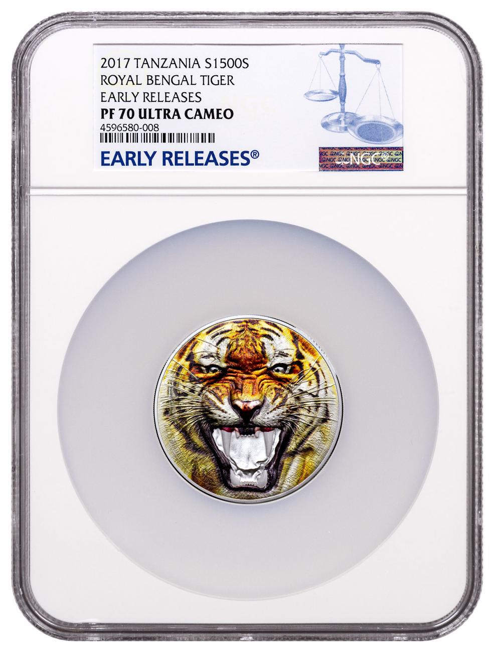 2017 Tanzania Rare Wildlife - Royal Bengal Tiger Ultra High Relief 2 oz Silver Colorized Proof Sh1,500 Coin NGC PF70 UC ER