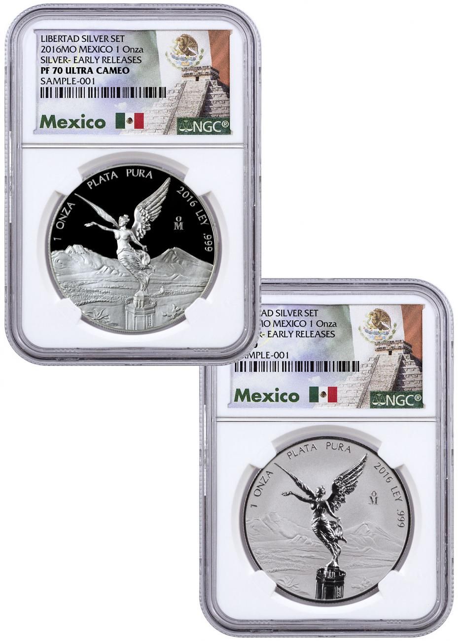 2016 Mexico 1 oz Silver Libertad Proof + Reverse Proof 2-Coin Set NGC PF70 ER (Exclusive Mexico Label)