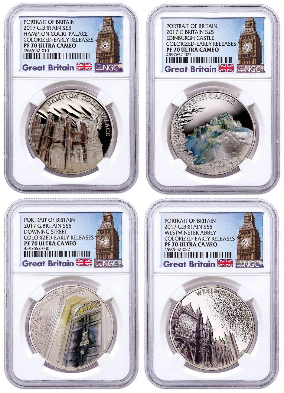 2017 Great Britain Portrait of Britain Silver Colorized Proof £5 4-Coin Set NGC PF70 UC ER Exclusive Big Ben Label