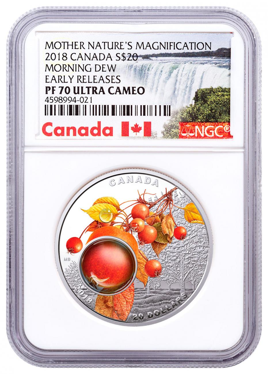 2018 Canada Mother Nature's Magnification - Morning Dew 1 oz Silver Colorized Proof $20 Coin NGC PF70 UC ER Exclusive Canada Label